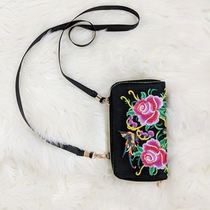 Floral Print Embroidered Wallet